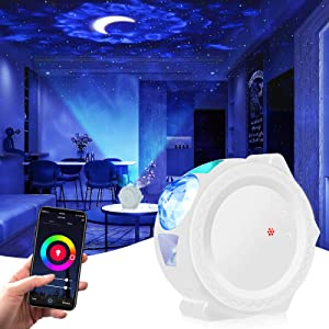 Smart Star Projector, Tanbaby Galaxy Cove Projector Light for Bedroom Work with App and Alexa, 3 in 1 Ocean Wave Star Light Projector for Bedroom LED Sky Cloud & Moon for Baby, Kids, Adults,Party