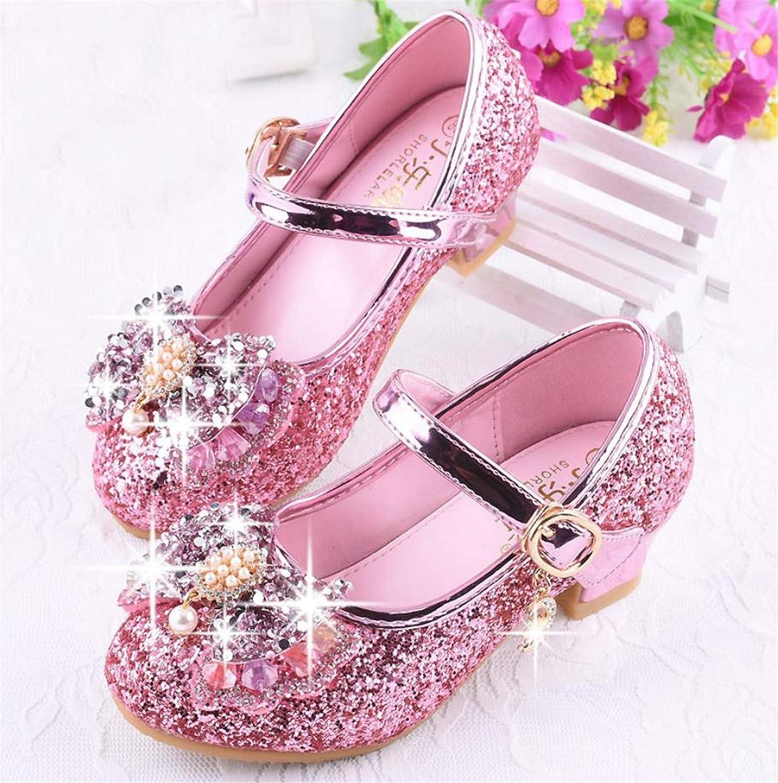 YOGLY Babies Fille Chaussure /à Talon Enfant Ballerine Princesse avec Paillettes Noeud Papillon Chausson Maryjane