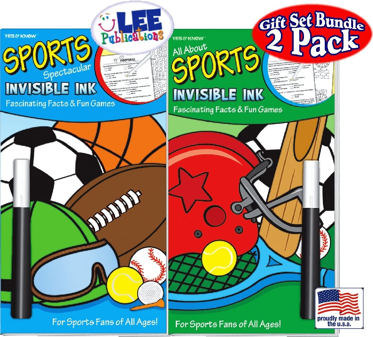 Yes /& Know Invisible Ink Books ALL ABOUT SPORTS FASCINATING FACTS /& FUN GAMES