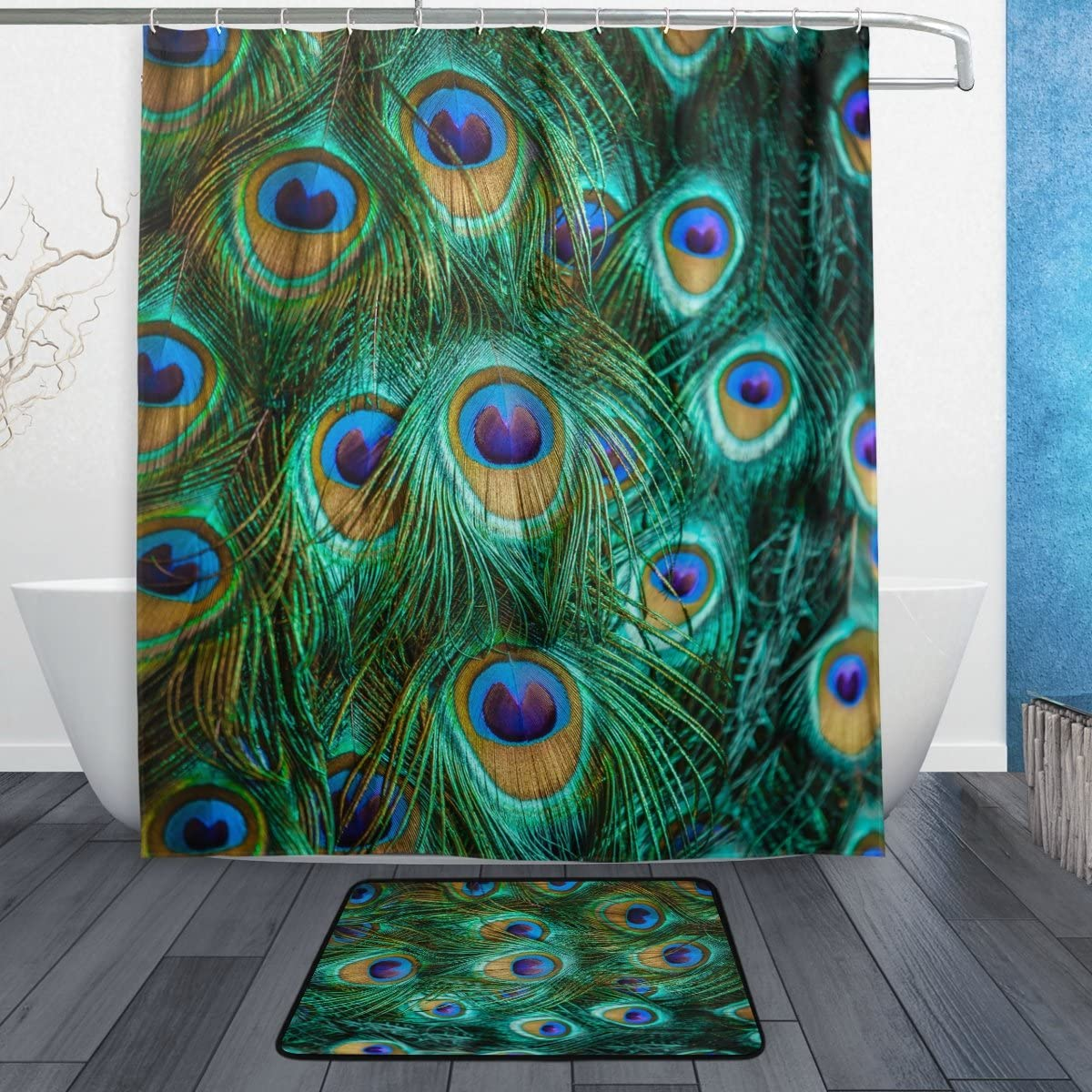 Naanle Colorful Peacock Feathers Waterproof Polyester Fabric Shower Curtain