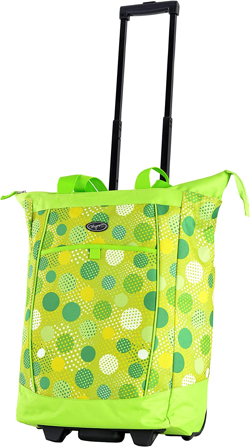 Olympia Fashion Rolling Shopper Tote - Lime Polka Dots, 2300 cu. in.
