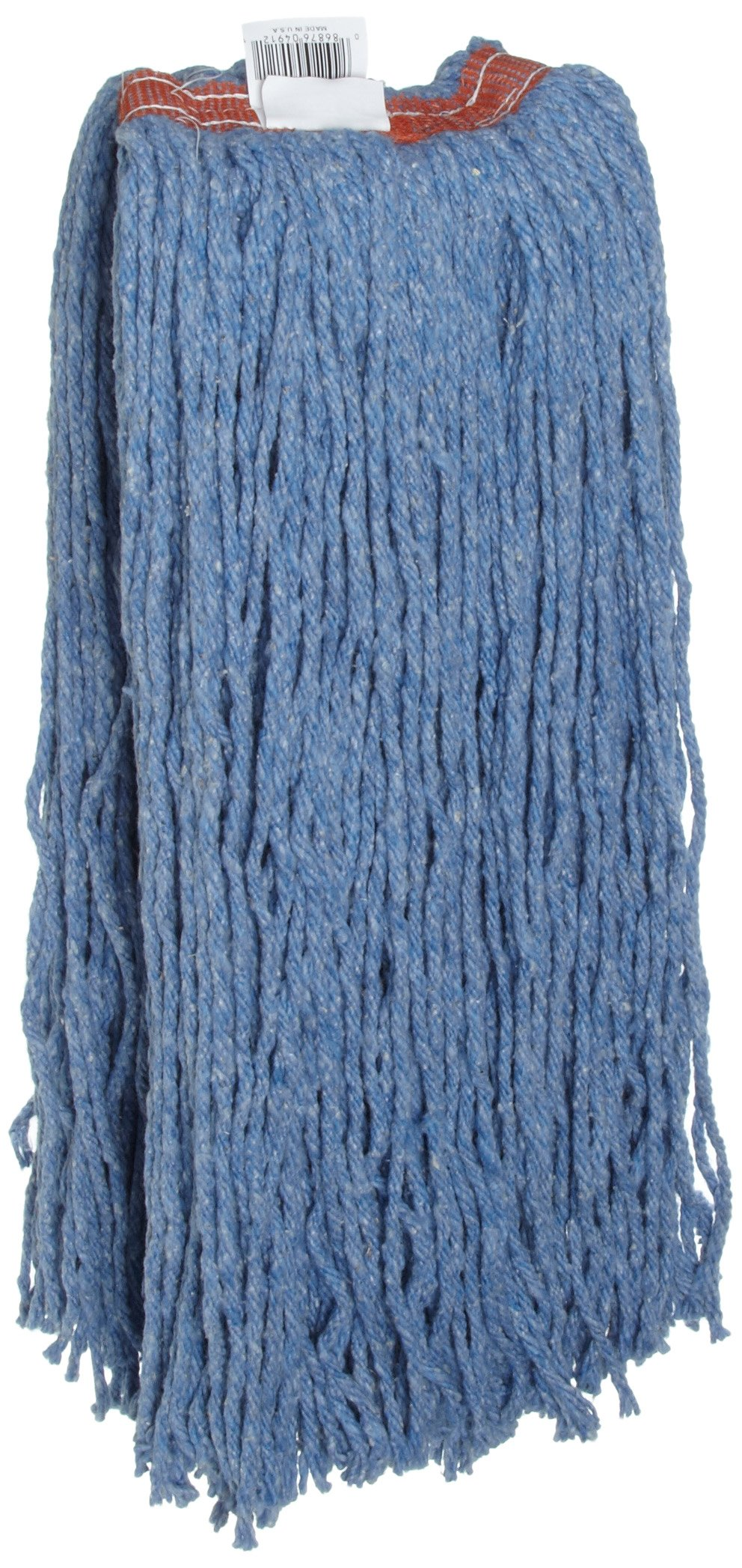 Rubbermaid Commercial FGF51900BL00 Premium 8-Ply Cut-End Blend Mop, 32-ounce, 1-inch Orange Headband, Blue by Rubbermaid Commercial Products