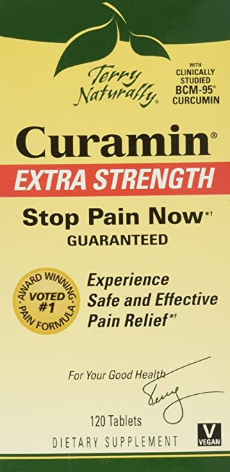 Terry Naturally Curamin Extra Strength, Safe and Powerful Pain Relief with BCM95 Curcumin 120 Tabs
