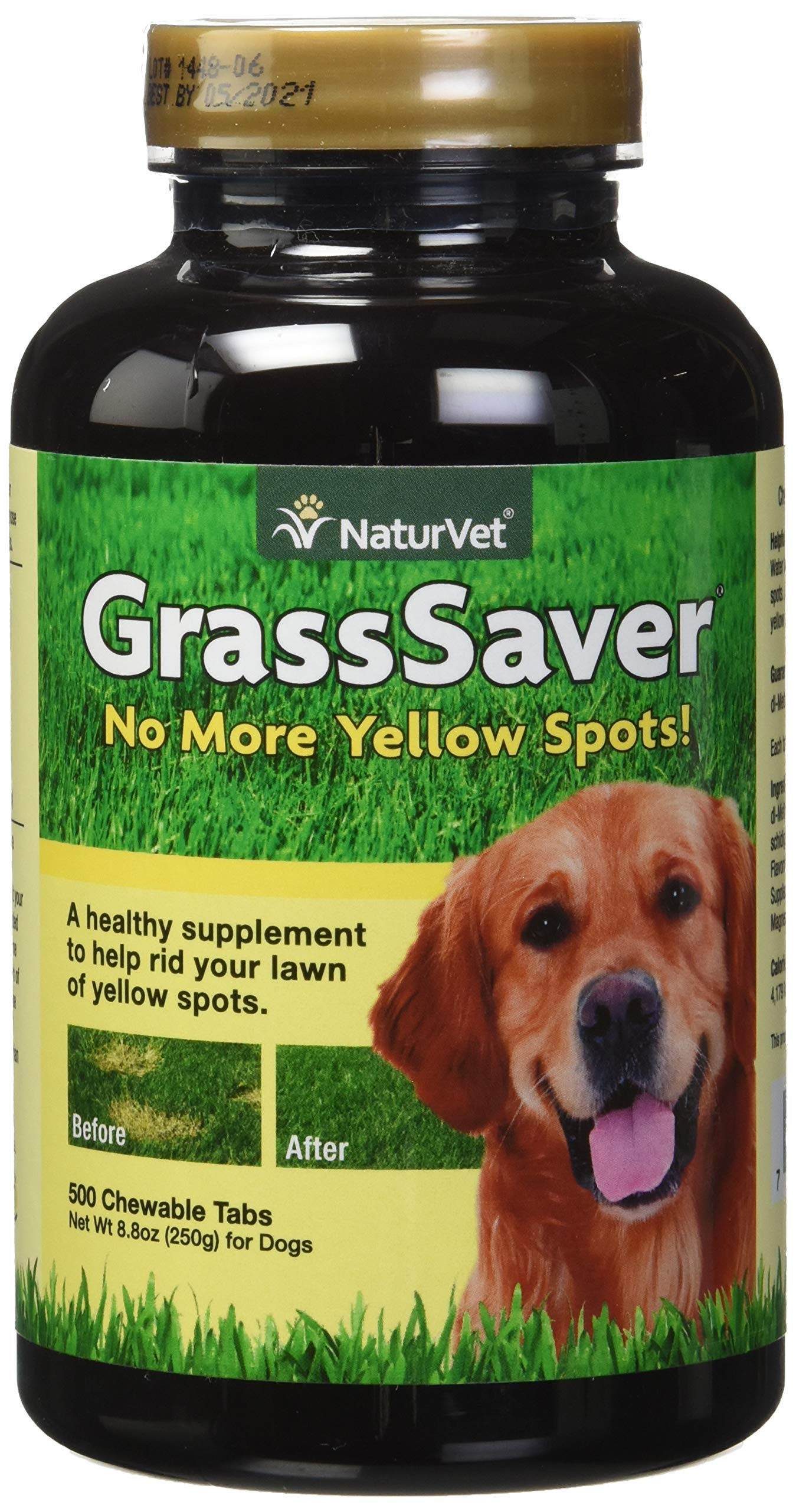 NaturVet - GrassSaver Supplement for Dogs - Healthy Supplement to Help Rid Your Lawn of Yellow Spots - Synergistic Combination of B-Complex Vitamins & Amino Acids - 500 Tablets by NaturVet