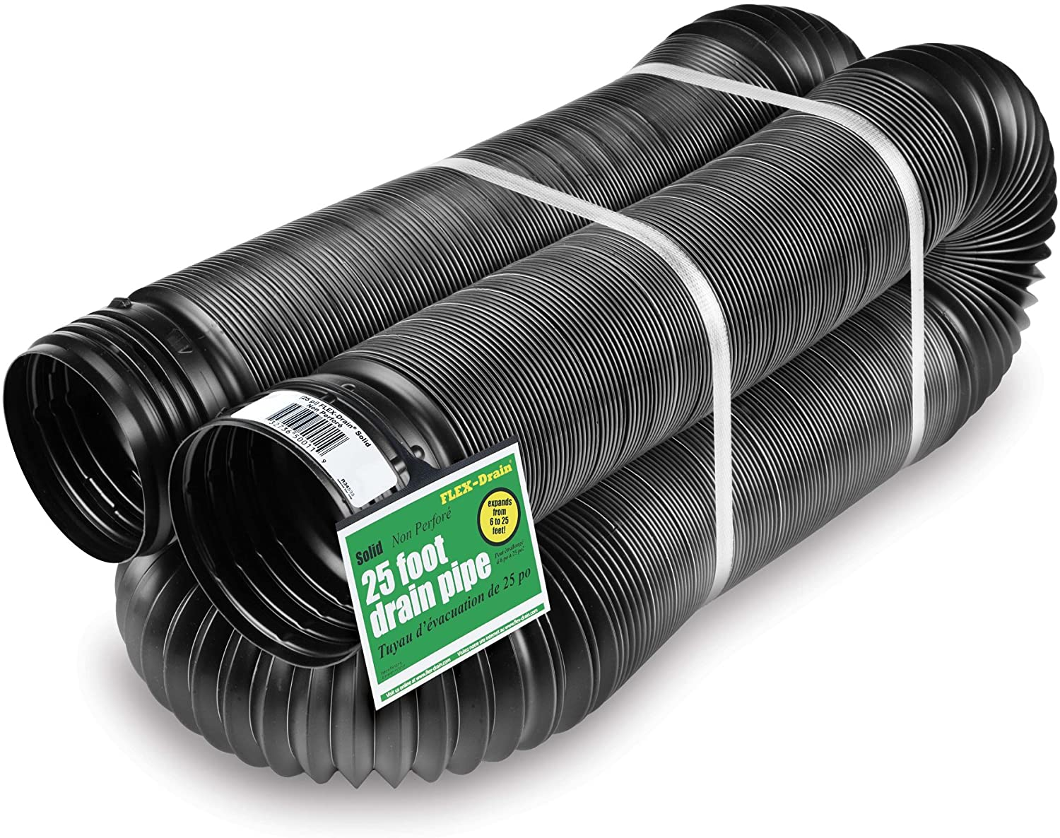 Flex-Drain 51710 Flexible//Expandable Landscaping Drain Pipe Solid 4-Inch by 12-Feet