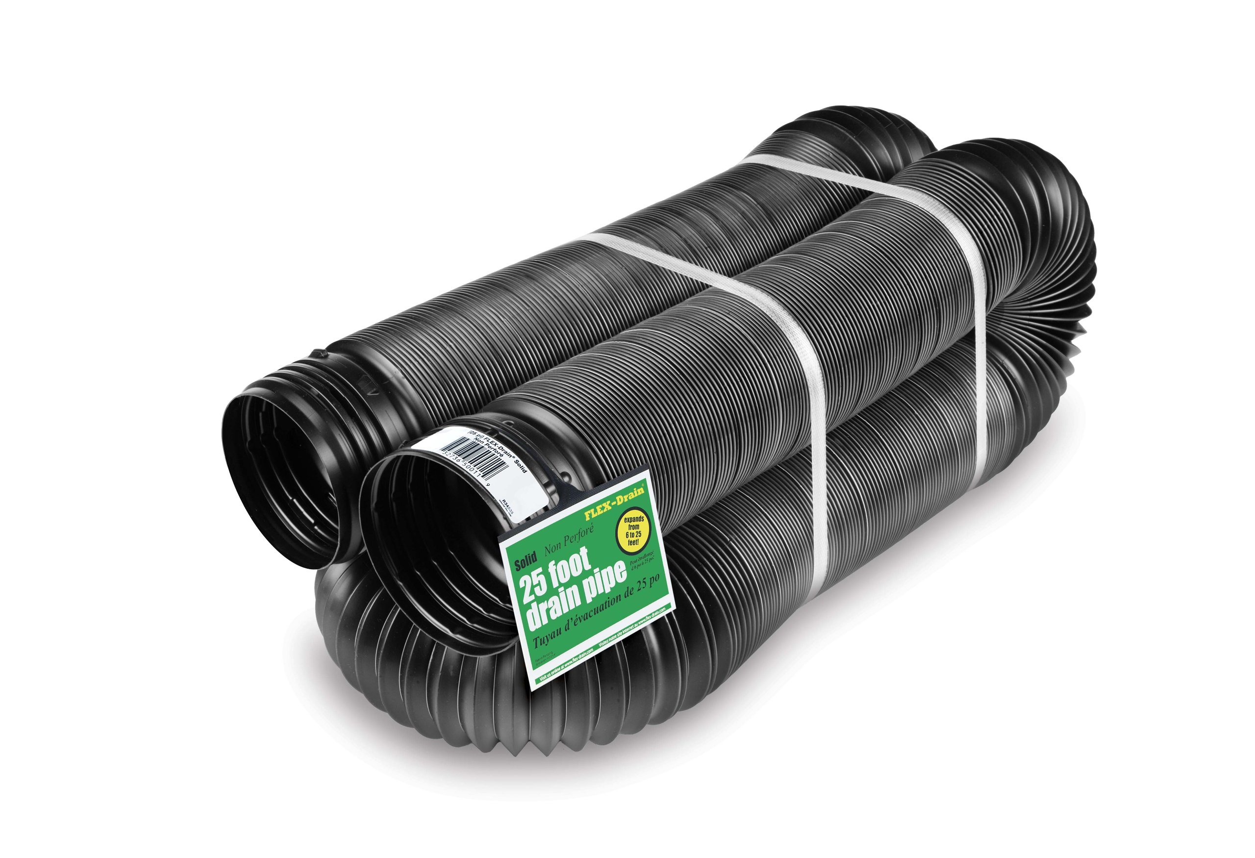 Flex-Drain 51110 Flexible/Expandable Landscaping Drain Pipe, Solid, 4-Inch by 25-Feet by Flex-Drain
