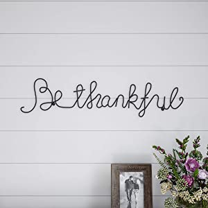 Lavish Home Metal Thankful Cursive Cutout Sign-3D Word Art Home Accent Decor-Perfect for Modern Rustic or Vintage Farmhouse Style