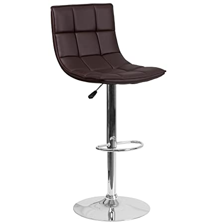 Flash Furniture Contemporary Brown Quilted Vinyl Adjustable Height Barstool with Chrome Base