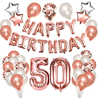 Grier 50th Birthday Balloons Decorations,50 Birthday Party Supplies for Women: Toys & Games
