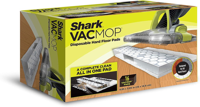 Shark VMP16 VACMOP Disposable Hard Floor Vacuum and Mop Pad Refills 16 Count, White