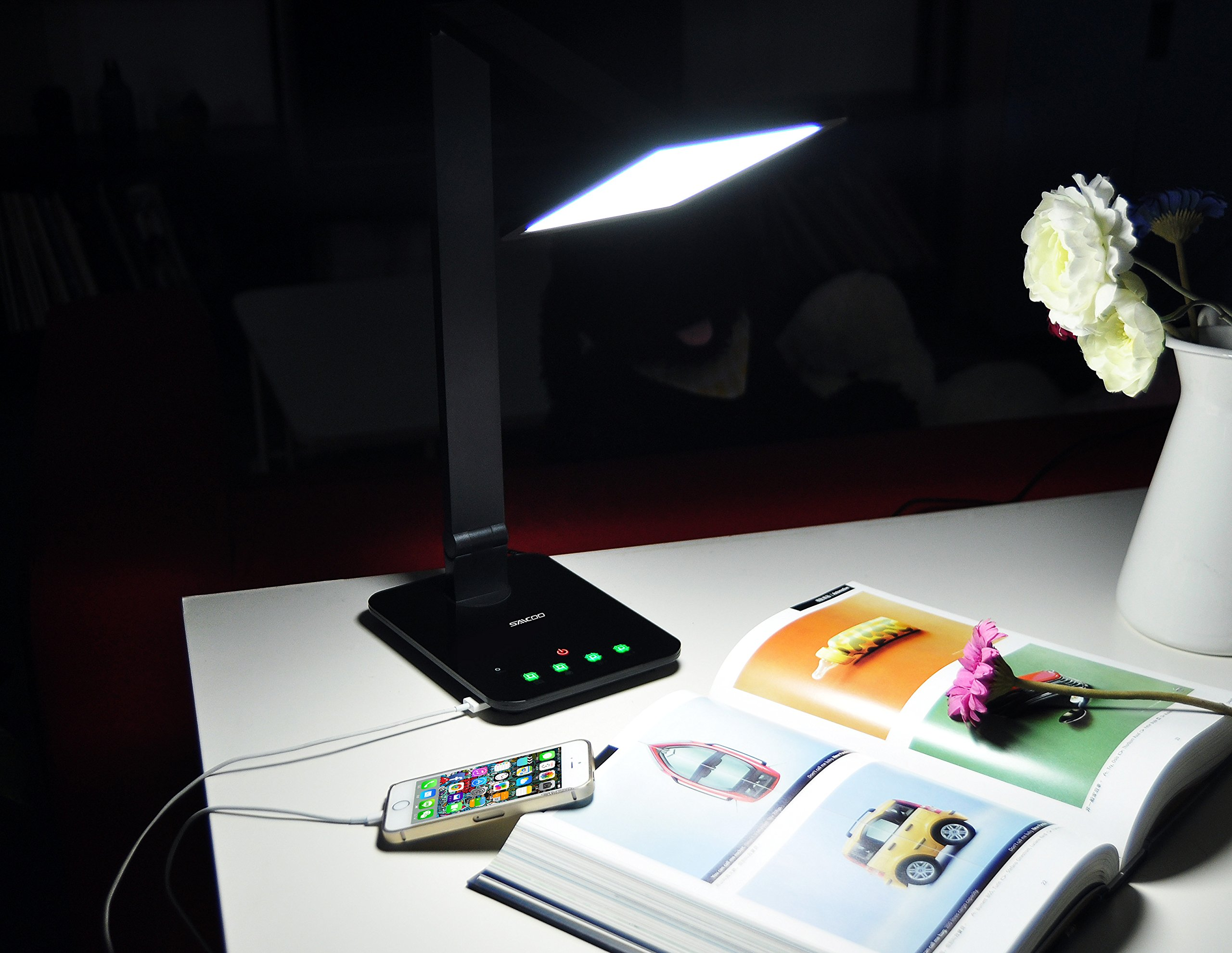 LED Desktop Lamp Saicoo Desk lamp with Large LED Panel, Seamless Dimming-Control of Brightness and Color Temperature, an USB Charging Port by saicoo (Image #7)
