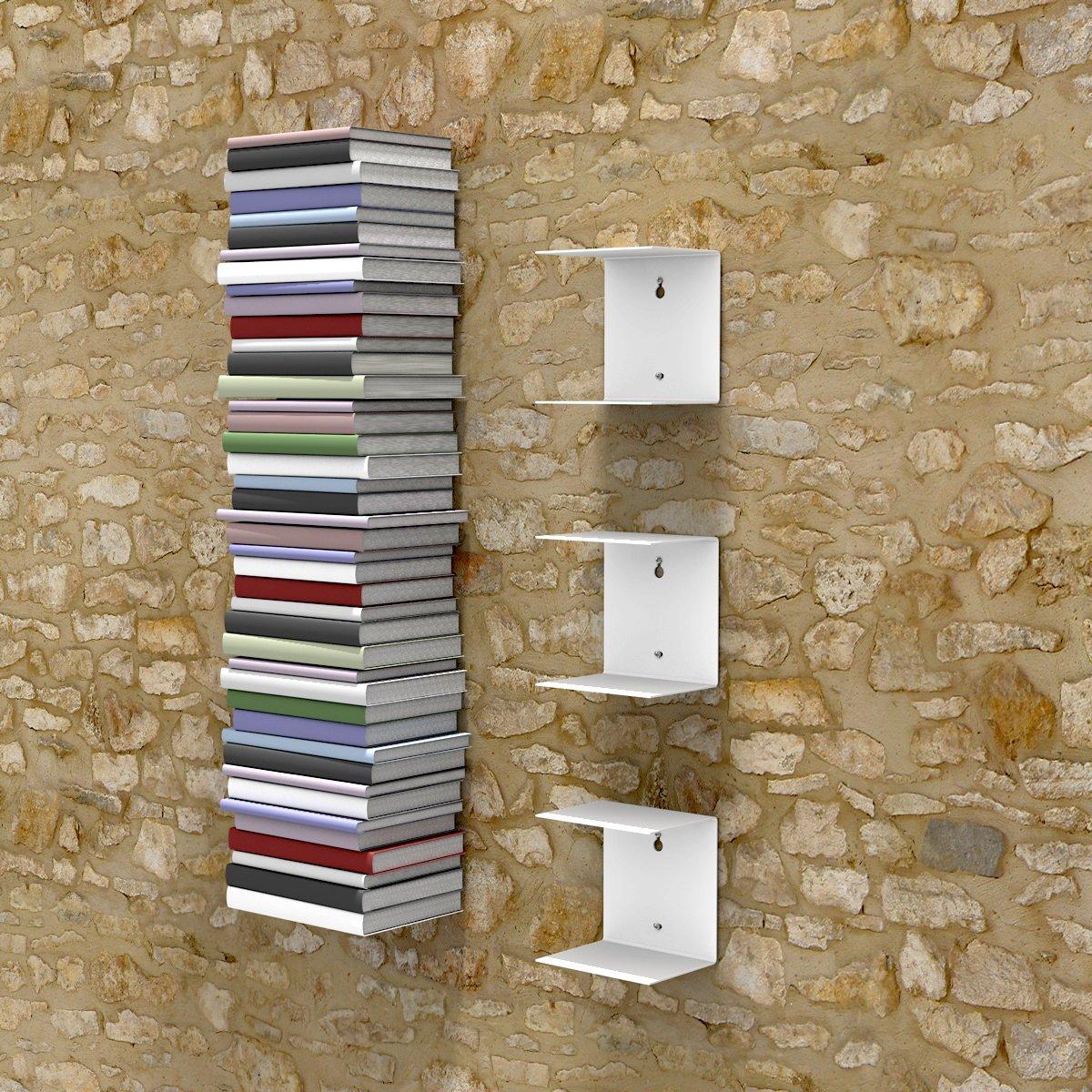 Wandregal bücher unsichtbar  home3000 3 weisse unsichtbare Bücherregale mit 6 Fächern bis zu 150 ...