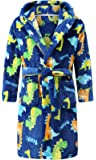 Boys Plush Soft Fleece Printed Hooded Bathrobes Sleep Robe for Toddler Boys Little Boys Big Boys