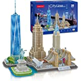CubicFun 3D Puzzle Cityline New York Architecture Building Model Kits, Statue of Liberty, Empire State Building, Brooklyn Bri