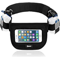 Hydration Running Belt For Runners And Athletes - Sporting Gear - Large Storing Space - Adjustable Exercising Belt With Reflective Gear - Waterproof fabric - Window Pouch For Iphones & Smartphones