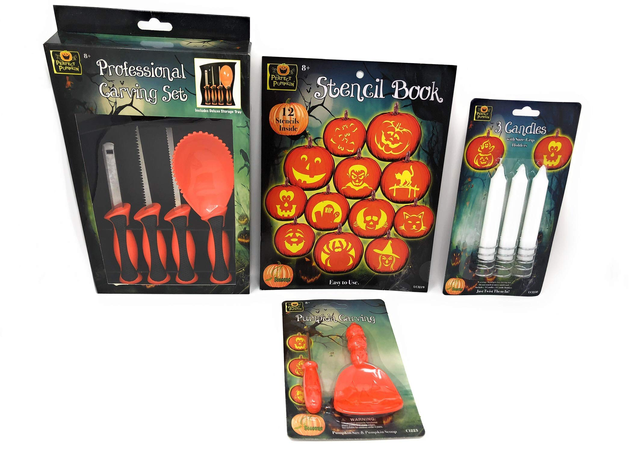 Mega Pumpkin Carving Kit-22 Pieces Includes 12 Stencils Book Professional Carving Set Sure Grip Candles and Carving Set for Children by Generic