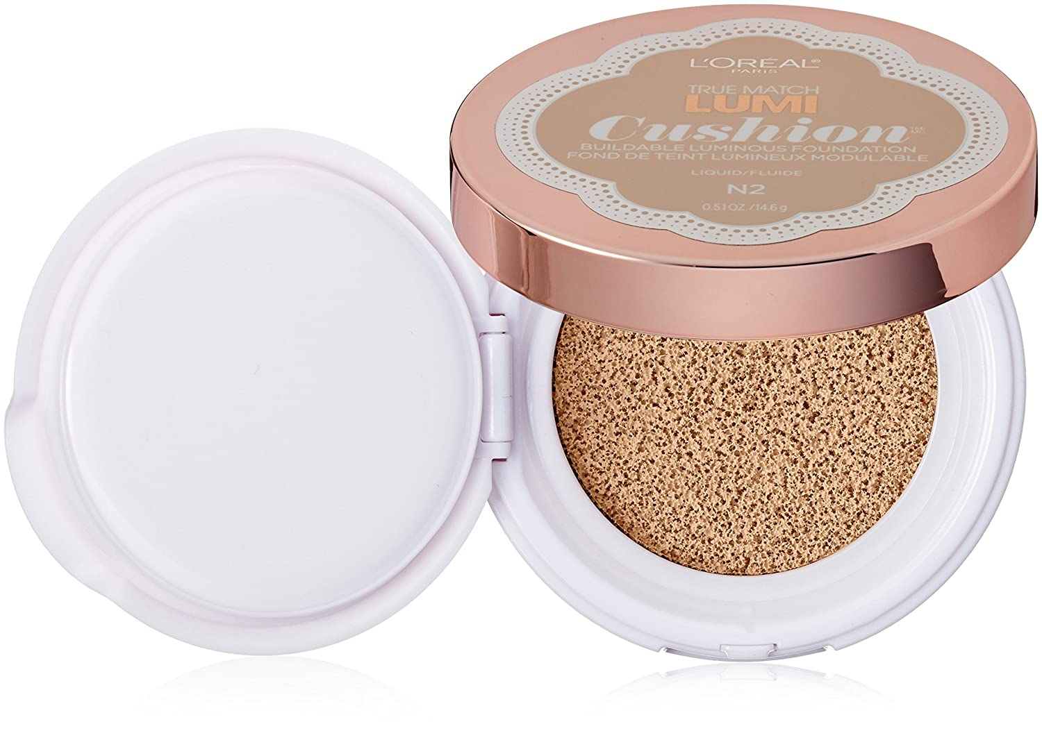L'Oréal Paris True Match Lumi Cushion Foundation, N2 Classic Ivory, 0.51 oz.