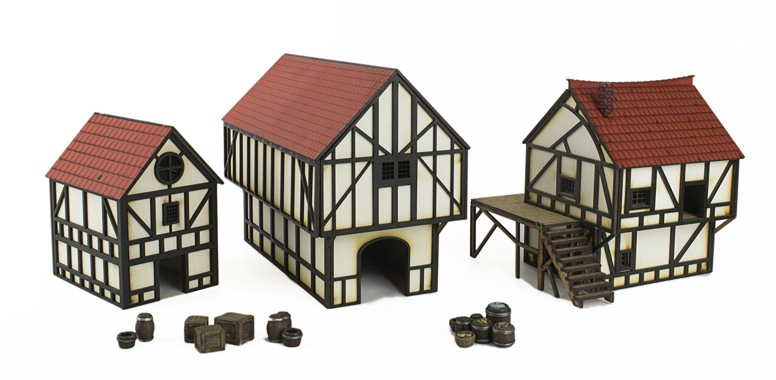 WWG Medieval Town Cottage, Townhouse & Barn Set with Resin Accessories – 28mm/Heroic Fantasy Wargaming Terrain