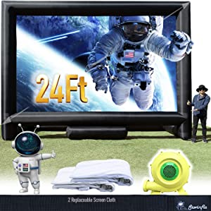 Sewinfla 24Ft Inflatable Movie Screen with Blower - Front and Rear Projection - Blow Up Outdoor and Indoor Projector Screen for Party, Easy to Set Up
