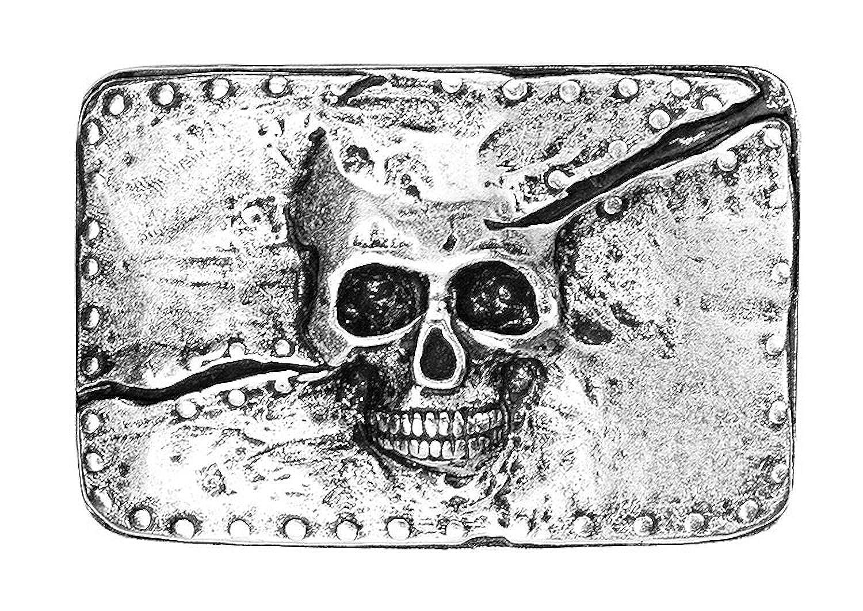 Geschenk f/ür M/änner SunnyTrade24 Buckle Cracked Skull extrem coole Rockabilly Biker G/ürtelschnalle aus 100/% Metall