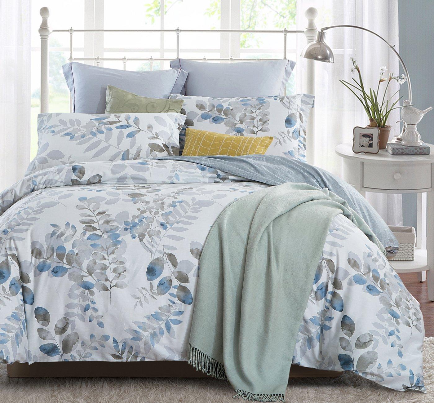 King COMIN16JU049423 Leaves Pattern Word of Dream 250TC 100/% Cotton Floral Print Duvet Cover Set 3 PC