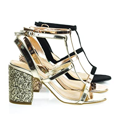 ee6b37c54156 BAMBOO Appetite40 Gold Patent Glitter Chunky Block Heel Sandal
