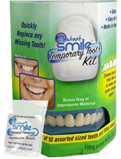 Amazon instant smile veneer set with small top set of white instant smile temporary tooth kit replace a missing tooth in minutes bonus bag of solutioingenieria Images
