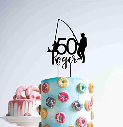 Funlaugh Custom Fishing 50 Fifty Year Birthday Wood Decoration Timber Age 40Th Funny Cake