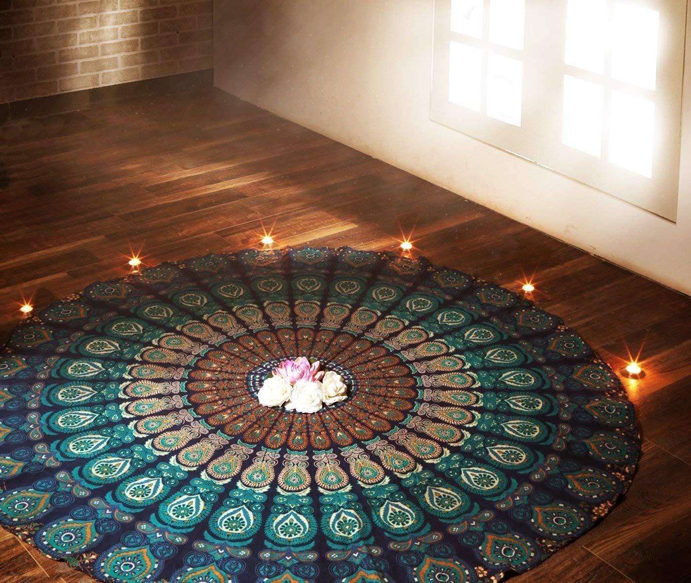 Indian Mandala Round Roundie Beach Throw Tapestry Hippy Boho Gypsy Cotton Tablecloth Beach Towel Round Yoga Mat Blue Rajrang WHG08240