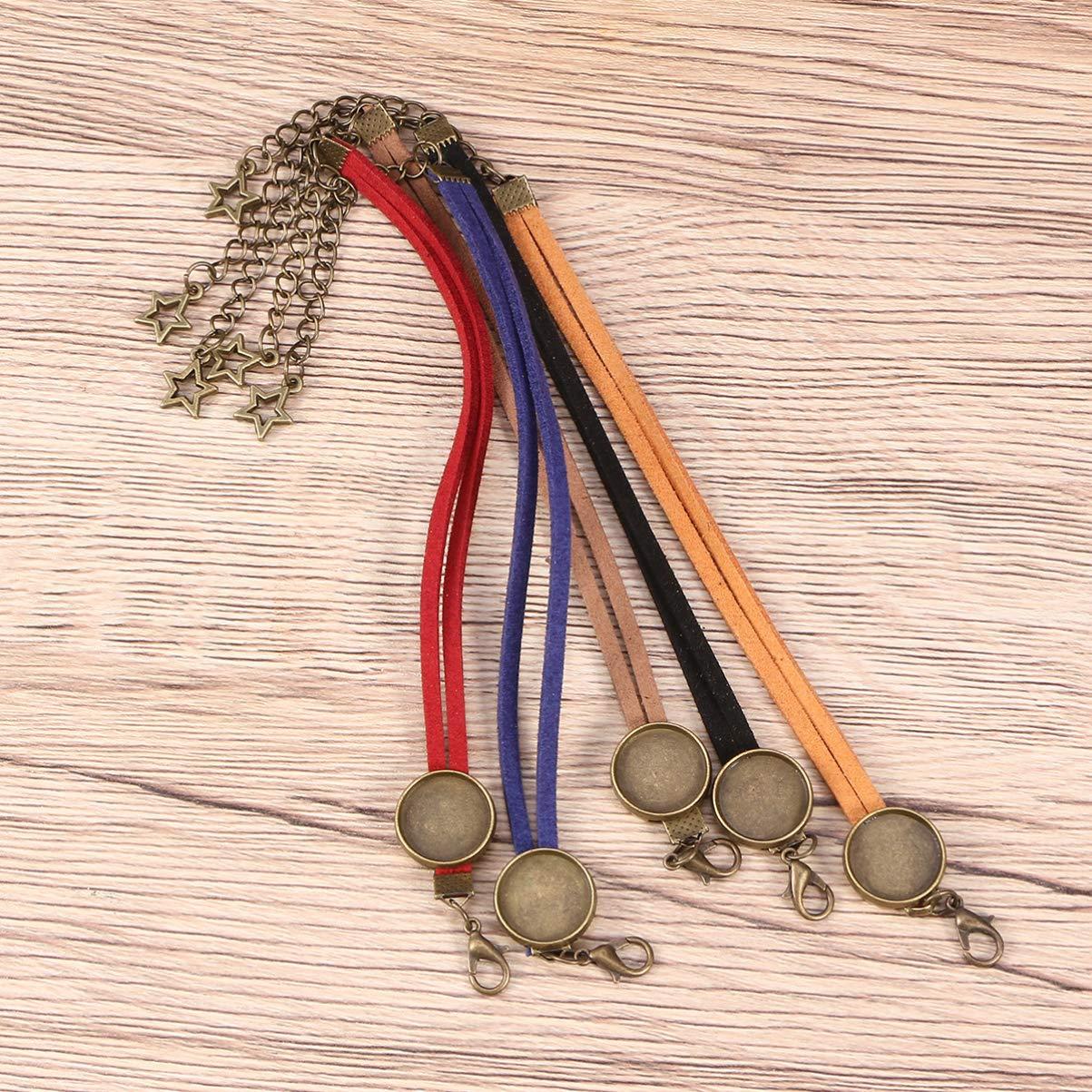 Couleurs m/élang/ées au Hasard Artibetter Bracelet en Cuir Plateau Plateau Bracelet Base Blanche Ajustement 14mm gemmes Rondes de cabochon de Verre pour la Fabrication de Bijoux Paquet de 20