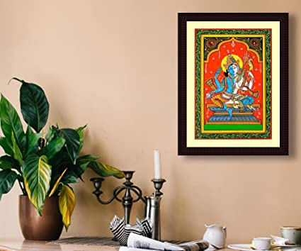 tamatina framed canvas painting ardhnarishwar mahadev hd quality