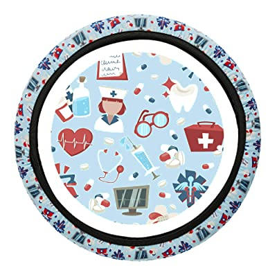 Nurse Steering Wheel Cover - 4 Nursing and Medical Designs Steering Wheel Covers, Simple to Fit No Tools Required, Stretchy Material. for Registered Nurses, Nursing Students and Medical Assistants: Automotive