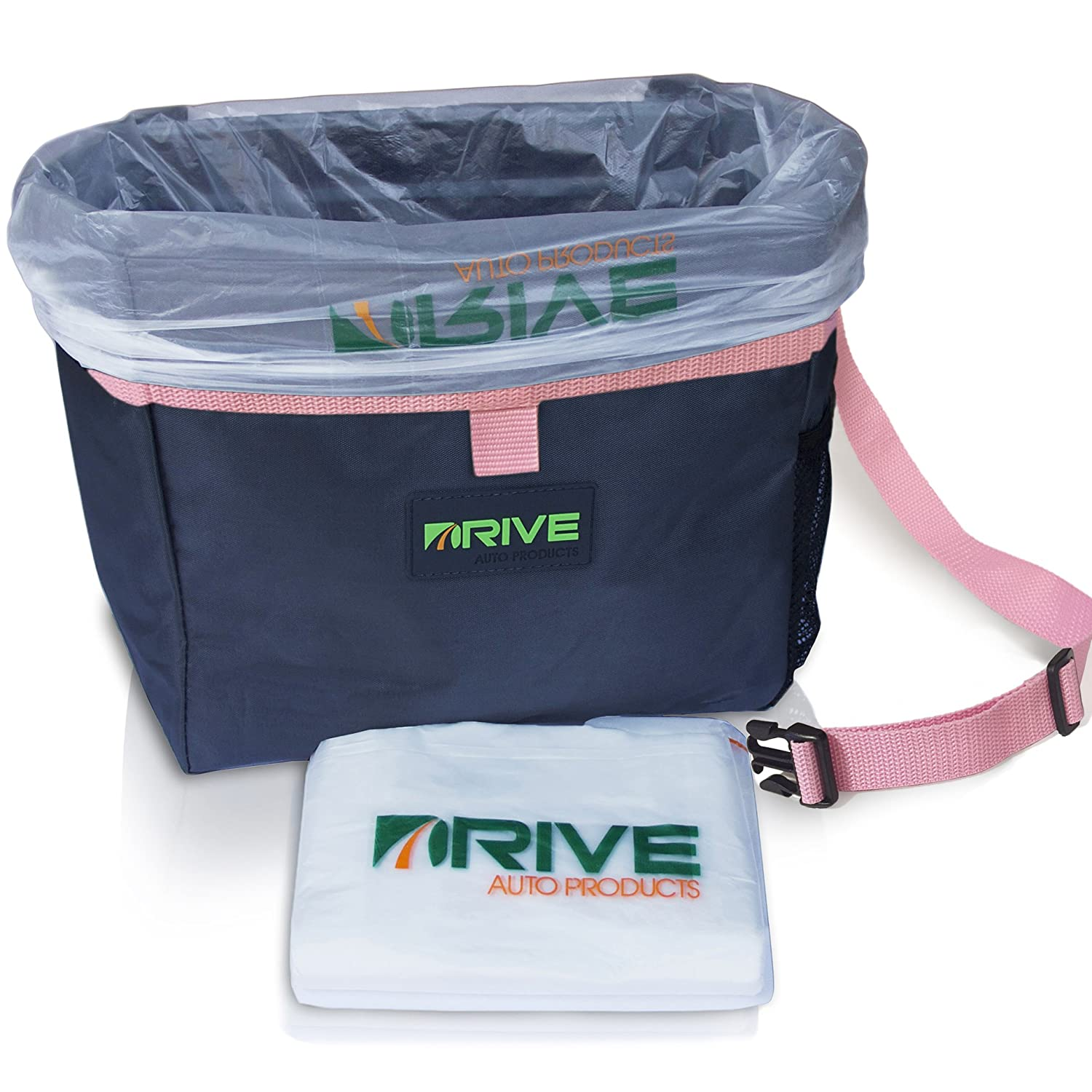 DRIVE Car Bin (Pink Strap) - Best Auto Trash Bag for Rubbish, Extra Waste Basket Liners - Hanging Recycle Garbage Can is Universal, Waterproof Organizer Makes a Great Drink Cooler & Road Trip Gift Drive Auto Products 731236562634_PK