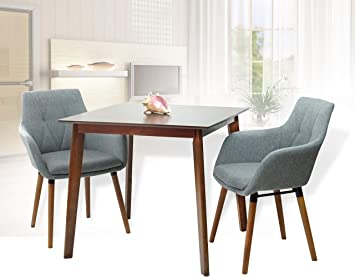 Dining Kitchen 5 Pcs Set Rectangular Table 4 Warm Chairs Breakfast Maple Color