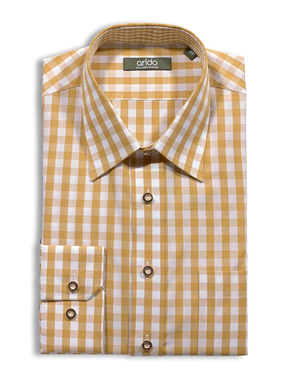 Trachtenhemd Herren Slim Fit Arido senf weiß kariert