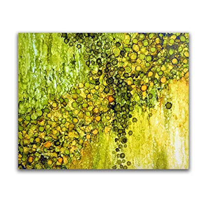 Amazon.com: Modern Art, Abstract Wall Decor for Office, Green Wall ...
