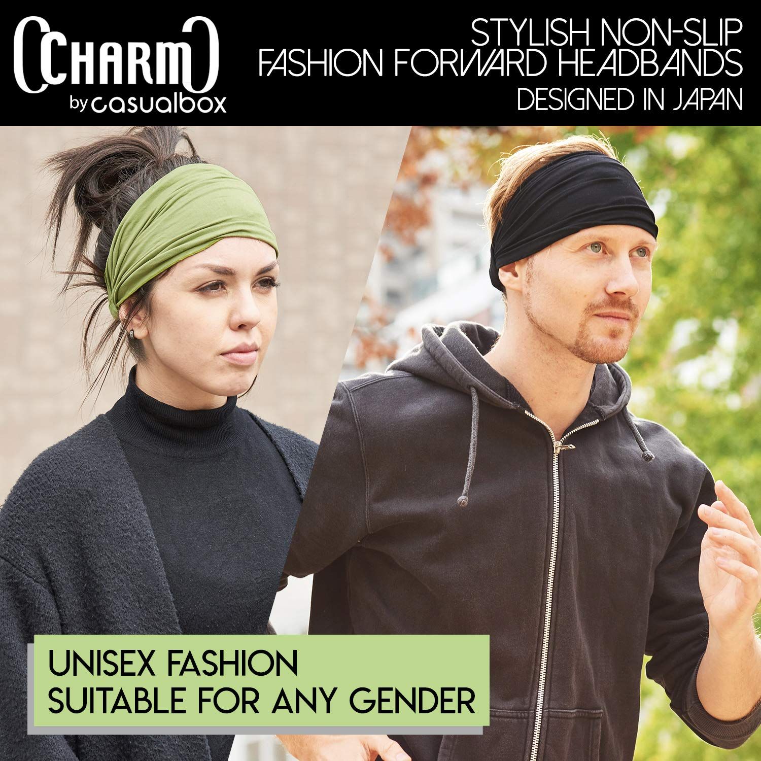 CHARM Black & Navy 2-Pack Japanese Bandana Headbands for Men and Women – Comfortable Head Bands with Elastic Secure Snug Fit Ideal Runners Fitness Sports Football Tennis Stylish Lightweight M by CCHARM (Image #4)