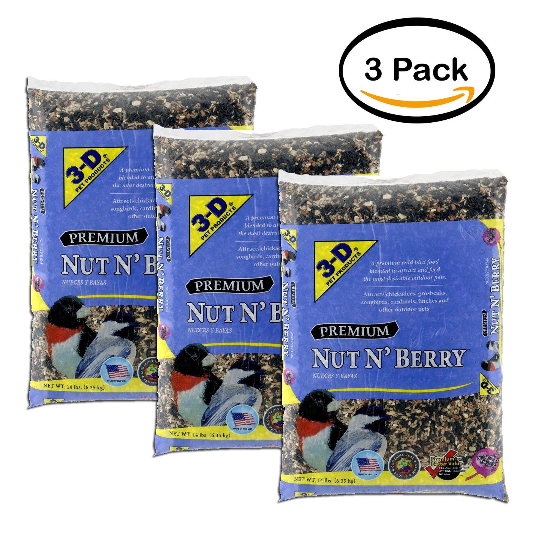 Amazon.com: PACK OF 2 - 3-D Pet Products Premium Nut N Berry Dry Wild Bird Food, 14 LB: Garden & Outdoor