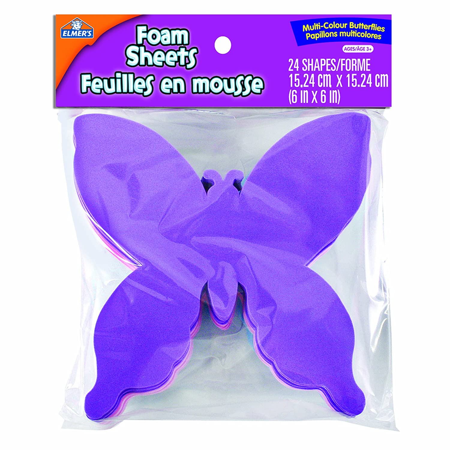 Elmer's Foam Butterflies, 15.24 X 15.24 cm, 6 X 6-Inch, Assorted Colors, Pack of 24, Assorted (EC61271Q) Elmer's Foam Butterflies Elmer Products