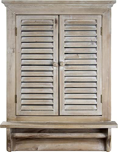 American Art Decor Rustic Country Window Shutter Wall Vanity Accent Mirror with Shelf and Towel Rod 28.25 H x 21 L x 4.75 D