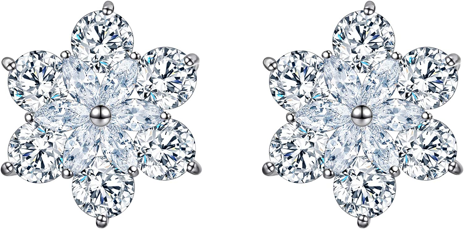 EleQueen 925 Sterling Silver Full Prong Cubic Zirconia Flower Winter Snowflake Bridal Stud Earrings
