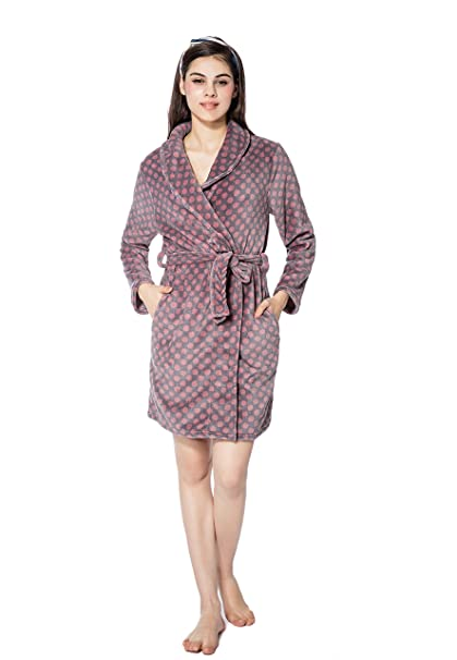 2d5a61a33264 FRALOSHA Bathrobe Women Medium Long Soft Polka Dots Bathrobe Womens Sleep  Loungewear Robes (S