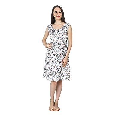 7d63675e4e12 Patrorna Cotton Silk Women Chemise Midi Nighty/Night Dress in White Floral  Print