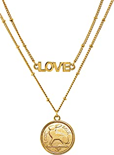 product image for American Coin Treasures Irish Coin Necklace Double Strand Love Chain– Genuine Three Pence Coin | Goldtone Saturn Style Chain and Lobster Claw Clasp | Certificate of Authenticity