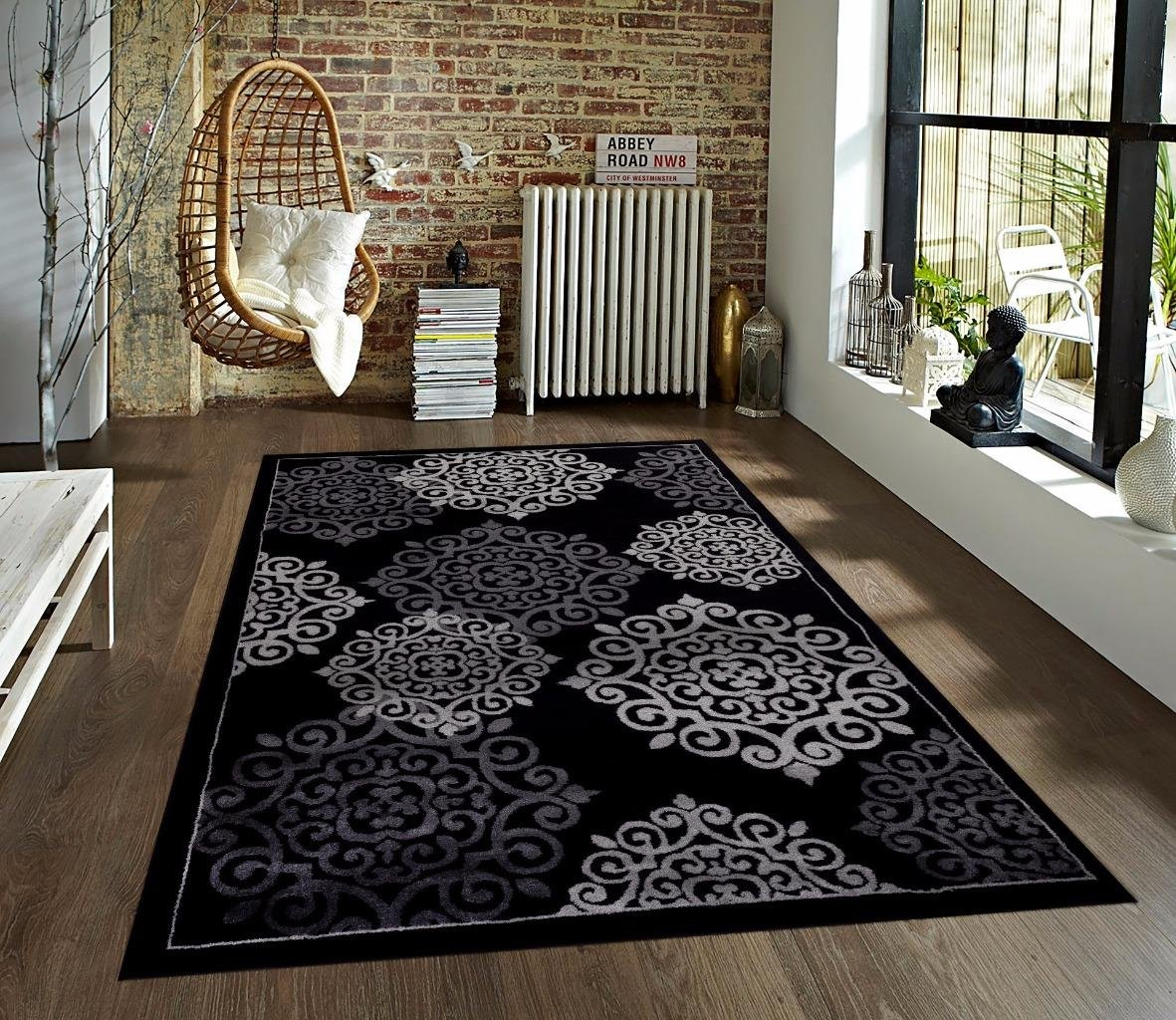 Amazon Com 776 Black Gray Grey 5 2x7 2 Area Rugs Carpet Kitchen