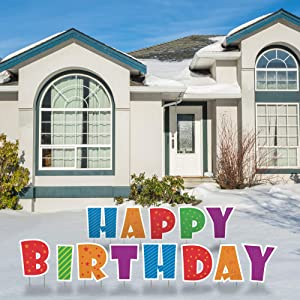 """QPS Happy Birthday Yard Signs with Stakes - 16"""" Colorful Weatherproof Large Lawn Letters Spelling Happy Birthday - 28 Metal Stakes - 13 Total Letter Lawn Signs - Happy Birthday"""