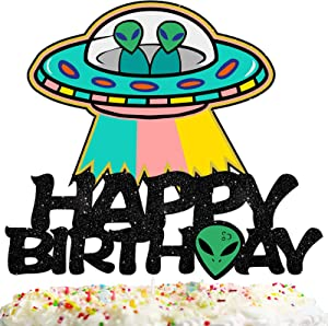 ET Happy Birthday Cake Topper Decorations with UFO for Alien Theme Picks for Kids Party Decor Supplies