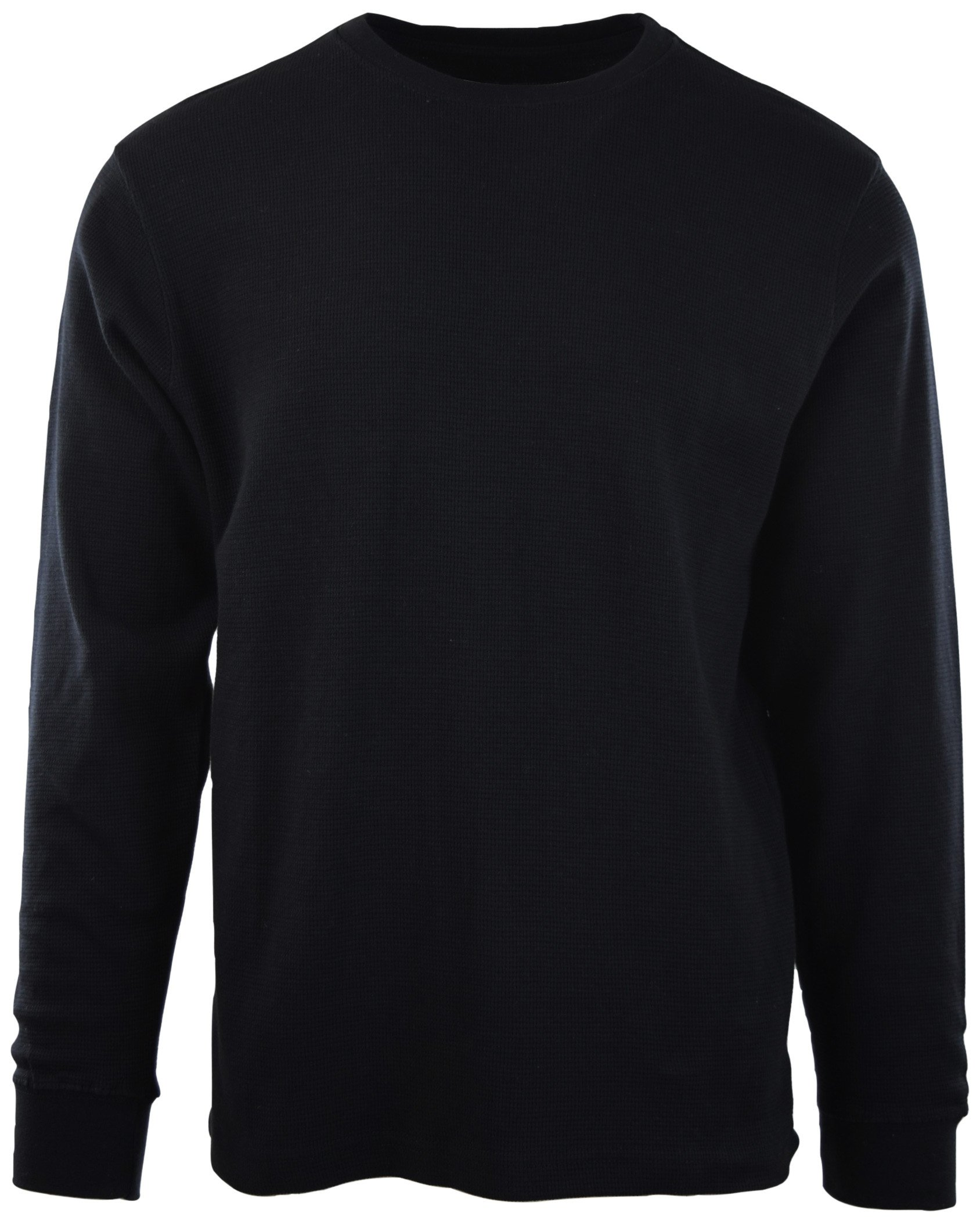 ChoiceApparel Mens Long Sleeve Thermal Waffle Pattern Crew Neck Shirts (L, 1802-BLACK)