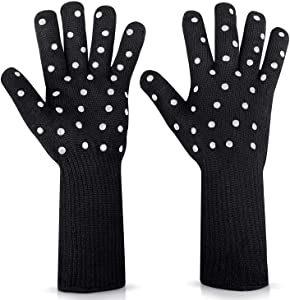 N/X Women BBQ Grilling Gloves Oven Gloves 2 Pack Heat Resistant Long Sleeve Oven Mitts Fireplace Baking Gloves Cut Resistant Cooking Gloves with Silicone Non-Slip (Black Dot)
