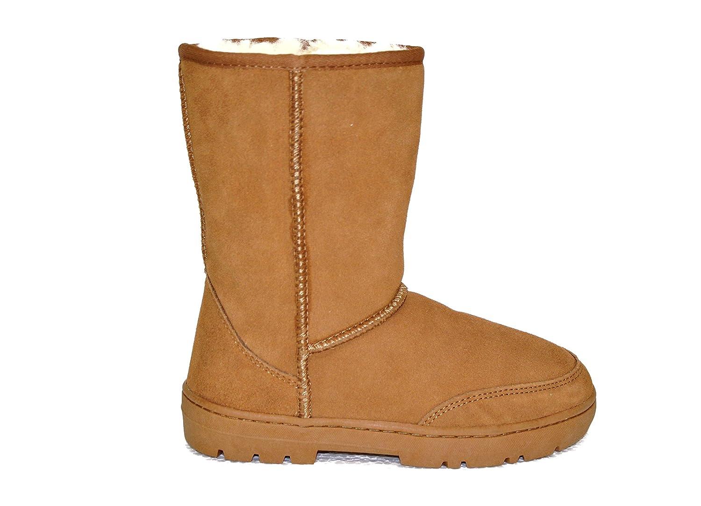 SUPER s6x Lammfell Stiefel Halbschaft Damen Stiefel Australisches Lammfell Lammfell Stiefel Cognac - braun - grau mit beigen Lammfell